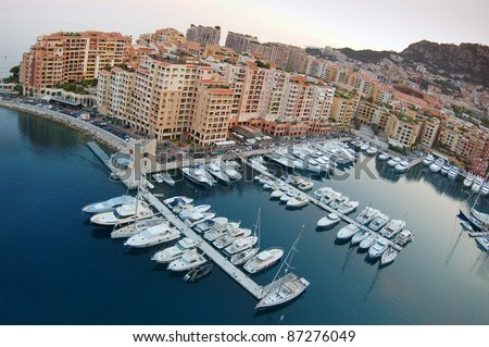 Luxury yachts in Monaco marina. Port de Fontveille.