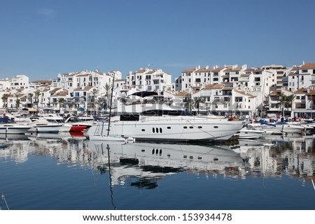 Luxury yachts in Puerto Banus, the marina of Marbella, Spain