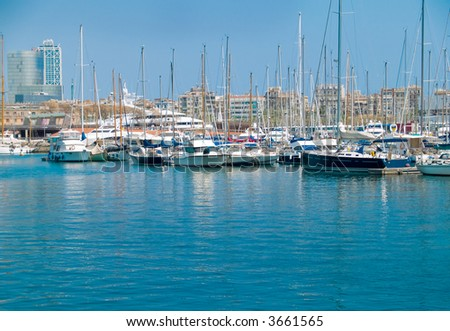 Luxury yachts in the Barcelona marina