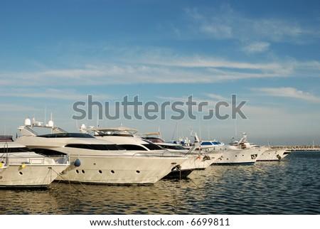 Luxury yachts in the harbor of Marbella, Spain