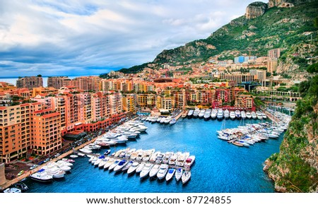 Luxury yachts in the harbour of Monaco
