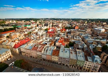 Lviv bird's-eye view of  from of the City Hall, Ukraine
