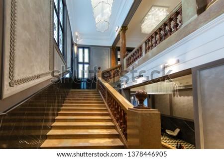 Lviv, Ukraine - April 18, 2019: Bank Hotel interioir in Lviv, Ukraine.  #1378446905
