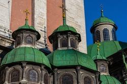 LVIV, UKRAINE - April, 2021: Domes of The chapel of three saints.