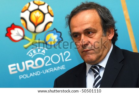 LVIV, UKRAINE - APRIL 7: UEFA President Michel Platini speaks during a news conference on April 7, 2010 in Lviv, Ukraine. Platini has arrived in Lviv to inspect the building stadiums for the EURO-2012