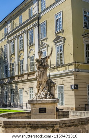 LVIV, UKRAINE - AUGUST 2, 2018: Central Square in old Town of Lviv - Market Square or Rynok (Ukr: Plosha Rynok). #1159491310