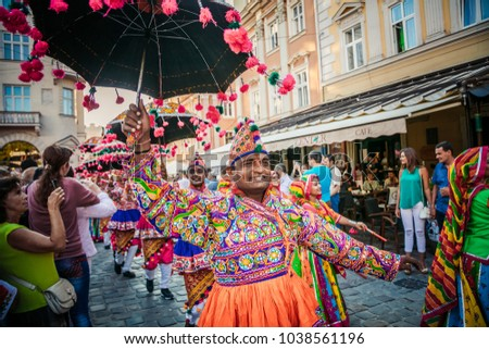 "LVIV, UKRAINE - AUGUST 24-26, 2016: International Folklore Festival ""Etnovyr"" #1038561196"