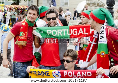 LVIV, UKRAINE - JUNE 13:  Portugal football fans in the center of the Lvov city, before the match Denmark- Portugal on June 13, 2012 in Lviv, Ukraine.