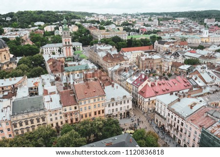Lviv Ukraine, June 26th 2018. Landscape of Lviv from the top of the tower of City Hall. #1120836818