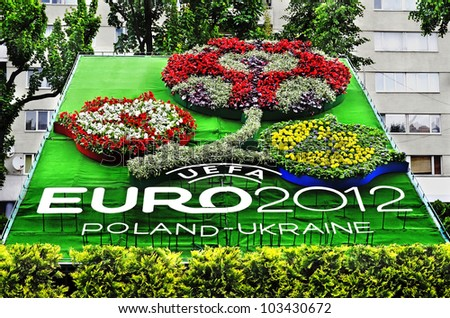LVIV, UKRAINE - MAY 23: In the center of Lviv opened phyto-panel with symbols of Euro 2012 on May 23, 2012 in Lviv, Ukraine.