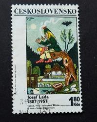 Lviv Ukraine - September 16, 2017; The Polish postage stamp, around 1967, depicts a fish, is shot on a black background