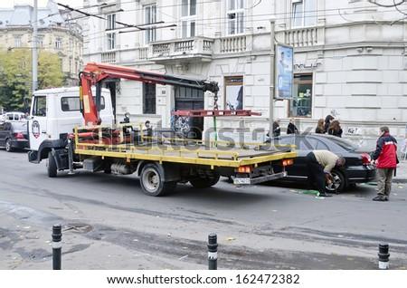 LVOV, UKRAINE - OCTOBER 16: After a long break, in parking lots in Lvov reopened road tow on October 16, 2013 in Lviv, Ukraine.
