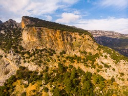 Lycian rock-cut tombs in ancient Pinara city, Mugla Province, Turkey