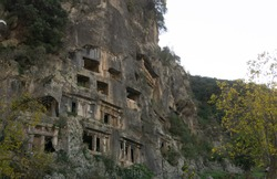 Lycian rock tombs carved into the rock, Fethiye,Turkey
