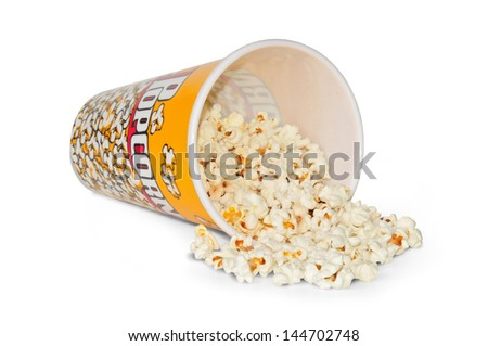 lying glass full with popcorn of corn