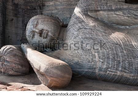 Lying reclining Buddha, Gal Vihara, Polonnaruwa, Sri Lanka