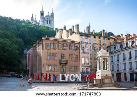 LYON, FRANCE - JULY 27: The famous big letters \