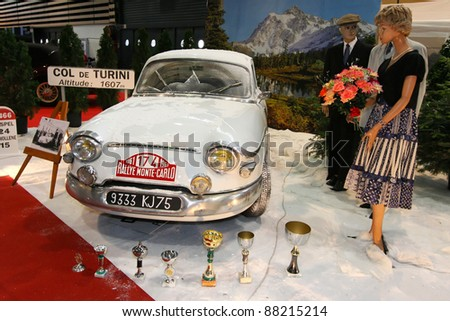 "LYON, FRANCE, NOV 6 - The motor show ""Epoq'Auto"" commemorates 50 years of Panhard victory in Monte Carlo Rally in Eurexpo Halls, in Lyon, on November, 6, 2011;"