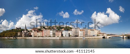 Lyon, France - Panoramic View of Vieux Lyon, Saone River and Fourviere. Colorful Houses. Clear Blue Sky.