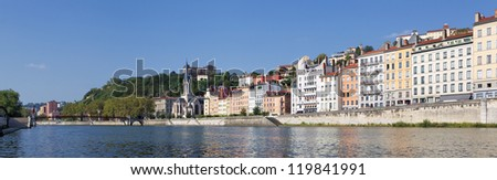 Lyon, France - Panoramic View of Vieux Lyon with Saone River