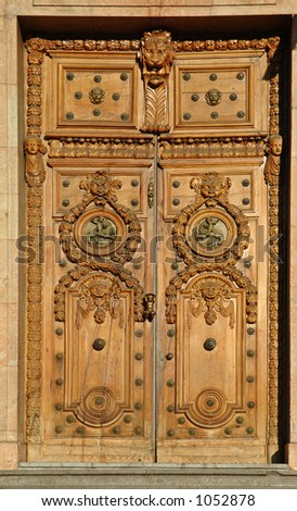 Lyon town hall door - Antique massive wooden door in Lyon. (France)