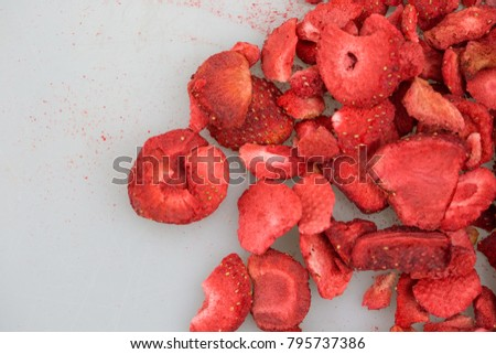 Lyophilized / freeze-dried strawberries isolated on white background. #795737386