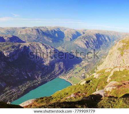 lysebotn fjord in norway at...