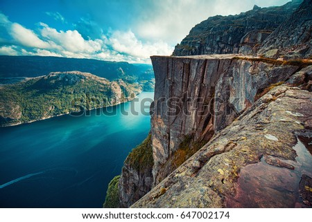 Lysefjord and Preikestolen cliff summer view in Norway with no people