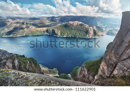 Lysefjord view from Preikestolen cliff in Norway. - stock photo