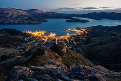 Lyttelton Harbour viewed from Mt Pleasant, Christchurch, Canterbury, New Zealand
