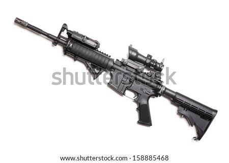 """M4A1 (AR-15) 14,5"""" carbine with ACOG sniper sight, AN/PEQ15 and AFG tactical grip. Isolated on white. Studio shot."""