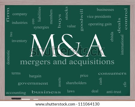 M & A (Mergers and Acquisitions) Word Cloud Concept on a Blackboard with great terms such as deals, ebitda, ceo, shareholders and more.