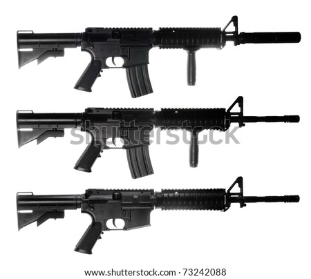 M4 assault rifles isolated on white ackground