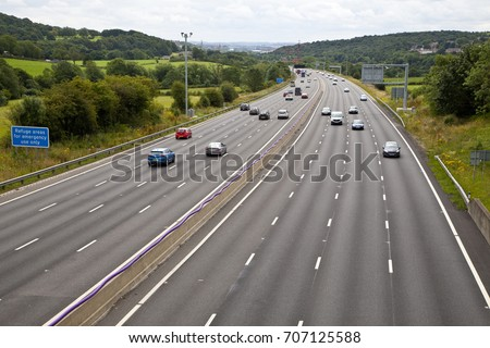 M1 four lane smart motorway in West Yorkshire