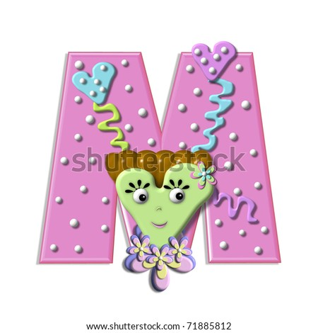 M  in the alphabet set   Heart M Alphabet In Heart