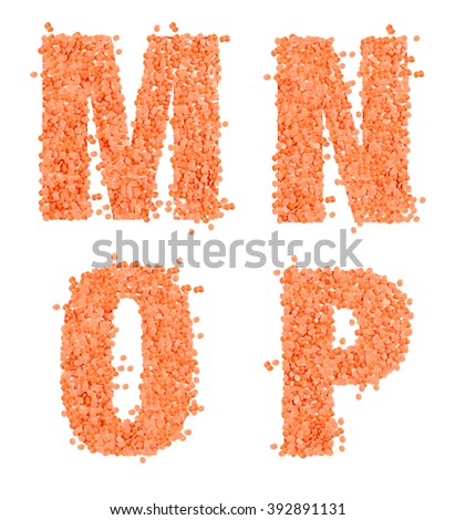 M, N, O and P, alphabet,Letter from dry lentils on white Stock fotó ©