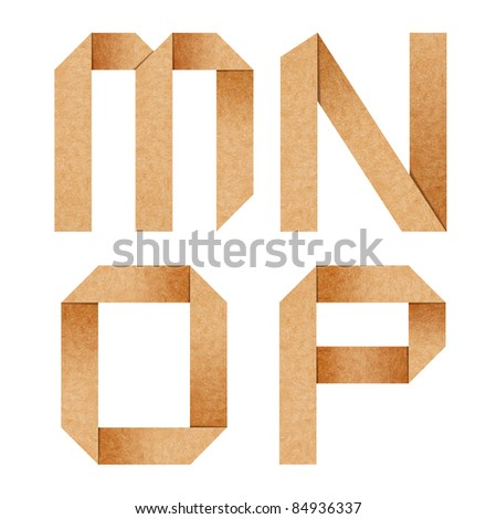 M,N,O,P Origami alphabet letters from recycled paper with clipping path