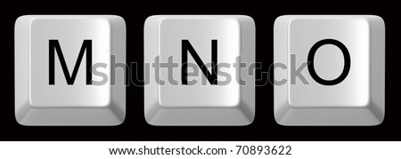 M, N, O white computer keys alphabet