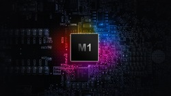 M1 processor chip. Network digital technology with computer cpu chip on dark motherboard background. Protect personal data and privacy from hacker cyber attack