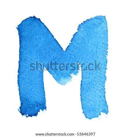 M - Watercolor letters isolated over the white background