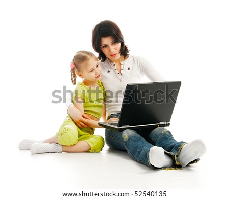ma and child with laptop on white background - stock photo