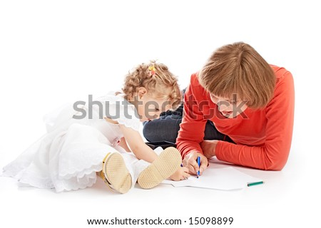 ma and daughter draw on white background