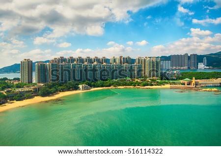 Ma Wan island beach aerial view in Hong Kong. Stok fotoğraf ©