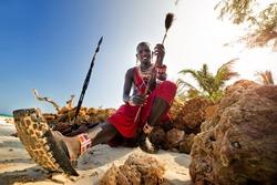 Maasai by the ocean on the beach. Kenya