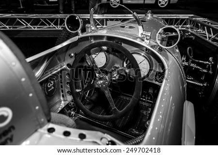 MAASTRICHT, NETHERLANDS - JANUARY 08, 2015: Cabin of a racing car Auto Union Type A, 1934. Black and white. International Exhibition InterClassics & Topmobiel 2015