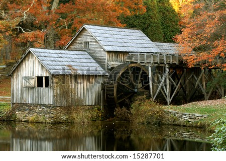 Mabry Mill, Meadows of Dan, Virginia, Close Up Horizontal in Autumn