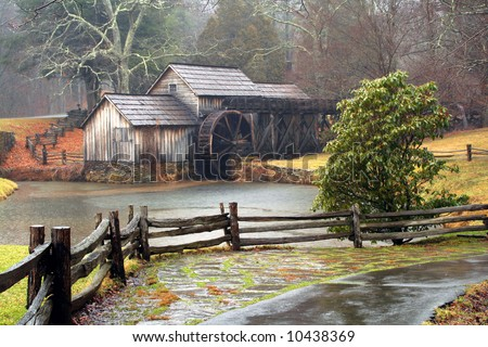 Mabrys Mill in Virginia along the Blue Ridge Parkway on a rainy day.