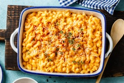 Mac and cheese. traditional american dish macaroni pasta and a cheese sauce
