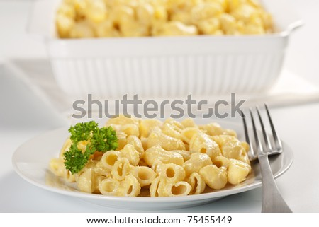 Macaroni and cheese in the casserole and plate