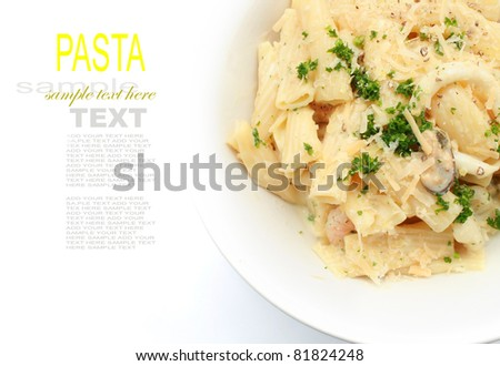 Macaroni Pasta with delicious cream sauce and seafood